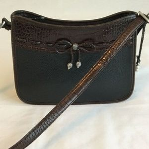 Brighton Shoulder Bag Purse Leather Black Brown